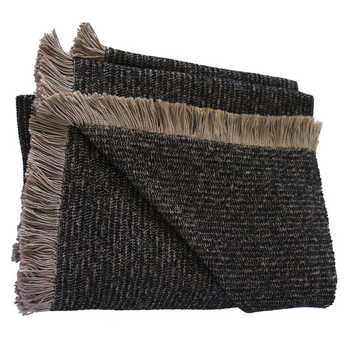 Picture of Mushroom and Black Chenille Two-Tone Throw