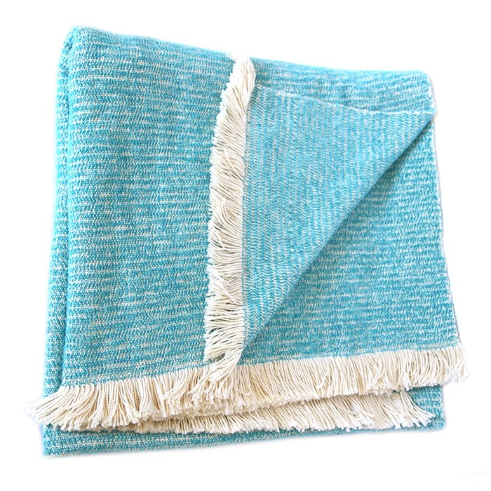Picture of Turquoise Chenille Two-Tone Throw