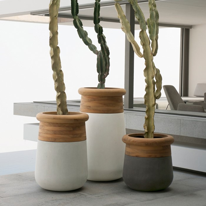 Picture of SOMA Iroko Timber Top Concrete Planter